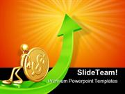 Pushing Gold Dollar Coin Up Business PowerPoint Templates And PowerPoi