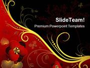 Red Black And Golden Floral Background PowerPoint Templates And PowerP