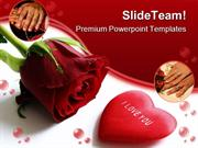 Red Rose And Heart Wedding PowerPoint Templates And PowerPoint Backgro