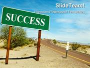 Road Sign On Desert Success PowerPoint Templates And PowerPoint Backgr
