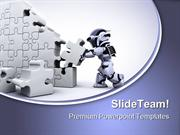 Robot Solving Jigsaw Puzzle Business PowerPoint Templates And PowerPoi