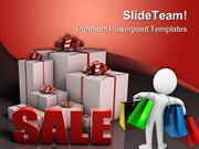 Sale Sign With Gift Boxes Shopping Lifestyle PowerPoint Themes And Pow