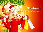 Santa Girl With Shopping Bags Festival PowerPoint Templates And PowerP