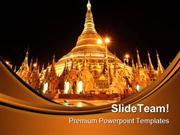 Shwedagon Pagoda At Night Religion PowerPoint Templates And PowerPoint