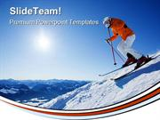 Skier In Mountain Holidays PowerPoint Templates And PowerPoint Backgro