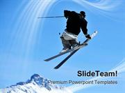 Skier Jumping Holidays PowerPoint Templates And PowerPoint Backgrounds