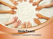 Smile Face On Sand Beach PowerPoint Templates And PowerPoint Backgroun