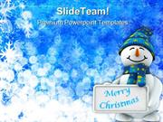 Snowman Wishing Christmas Festival PowerPoint Templates And PowerPoint