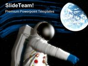 Spaceman With Planet Geographical PowerPoint Templates And PowerPoint