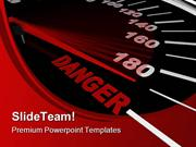 Speedometer Shows Danger Travel PowerPoint Templates And PowerPoint Ba