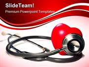 Stethoscope And Heart Medical PowerPoint Templates And PowerPoint Back