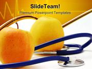 Stethoscope With Apples Medical PowerPoint Templates And PowerPoint Ba