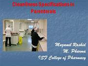 General Cleanliness Specifications in parenteral formulation _Muzamil