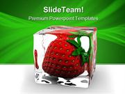 Strawberry In Ice Food PowerPoint Templates And PowerPoint Backgrounds