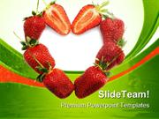 Strawberries Heart Food PowerPoint Templates And PowerPoint Background