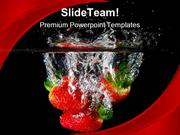 Strawberries In Water Health PowerPoint Templates And PowerPoint Backg