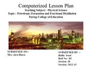 Computerized lesson plan on Petroleum