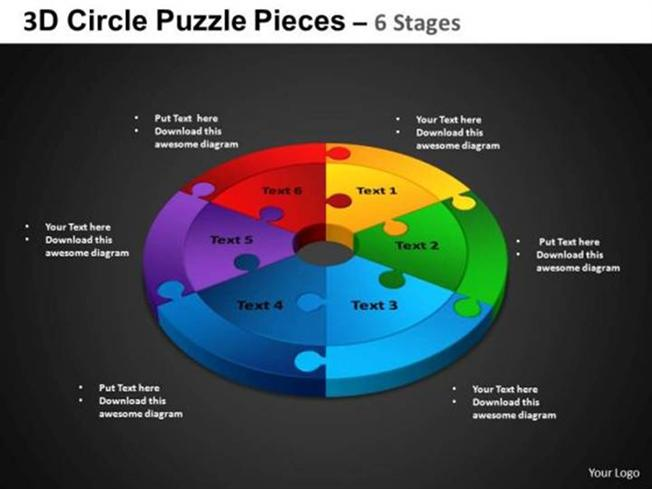 3d circular 6 stages jigsaw puzzle process flow diagram powerpoint related powerpoint templates ccuart Gallery