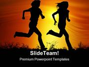 Sunset Joggers Health PowerPoint Templates And PowerPoint Backgrounds