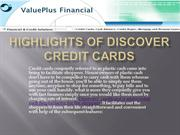 Highlights of Discover Credit Cards