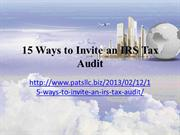 The Haney Group - 15 Ways to Invite an IRS Tax Audit