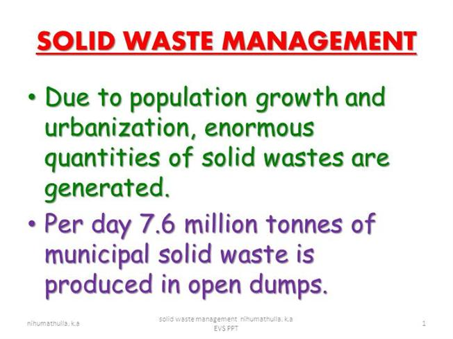 Solid Waste Management Nihumathulla KA Authorstream