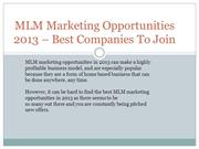MLM Marketing Opportunities 2013 – Best Companies To