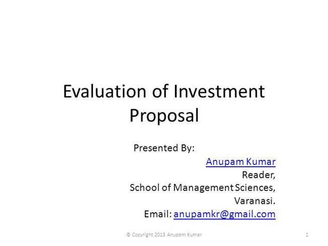 Evaluation Of Investment Proposal Authorstream