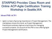 STARPMO Provides Class Room and Online ACP-Agile Certification