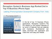 Perception System's Business App Ranked 2nd in Top 10 iPhone apps