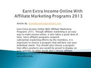 Earn Extra Income Online With Affiliate Marketing Programs
