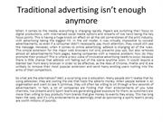 Traditional advertising isn't enough anymore