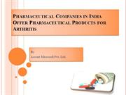 Pharmaceutical Companies in India Offer Pharmaceutical Products for Ar