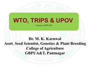 WTO , TRIPS & UPOV