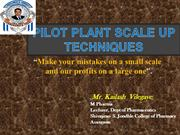 pilot plant scale up techniques by kailash vilegave