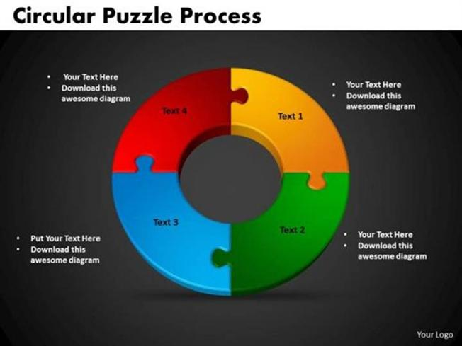 4 stages circular puzzle process editable flow chart slides