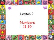 Numbers lesson 2  (11-19)