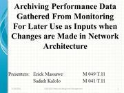 Archiving Performance Data Gathered From Monitoring