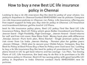 How to buy a new Best LIC life insurance policy in Chennai