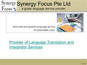 Language translation and interpreter services