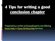 Essay Help:  4 Tips for writing a good conclusion chapter