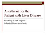 Anesthesia for Liver Disease