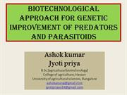 Biotechnological approach for genetic improvement of predators and par