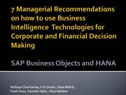 Kent MBA SAP BI Business Objects HANA