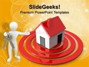 PERSON HOME TARGET BUSINESS POWERPOINT TEMPLATE