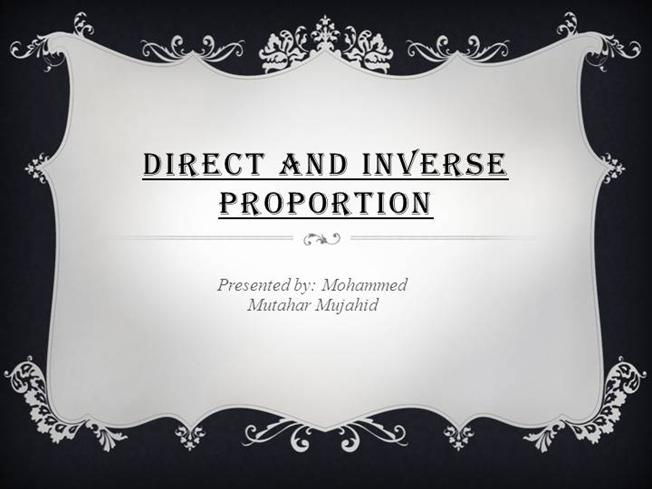Direct And Inverse Proportion Authorstream