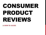 Consumer Product Reviews