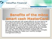 Benefits of the mbna smart cash MasterCard