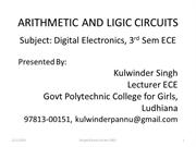 Arithmetic and Logic Circuits