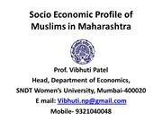 Socio Economic Profile of Muslims in Maharashtra